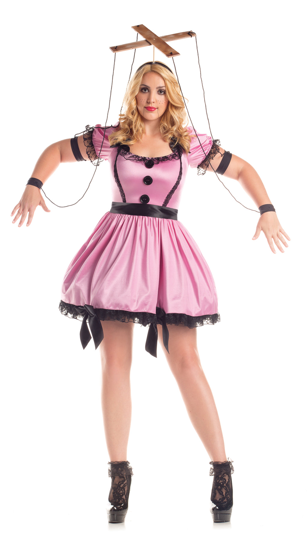 Party King Women's Pink Marionette Plus Size Costume Womens Adult Sized Costumes - Nastassy