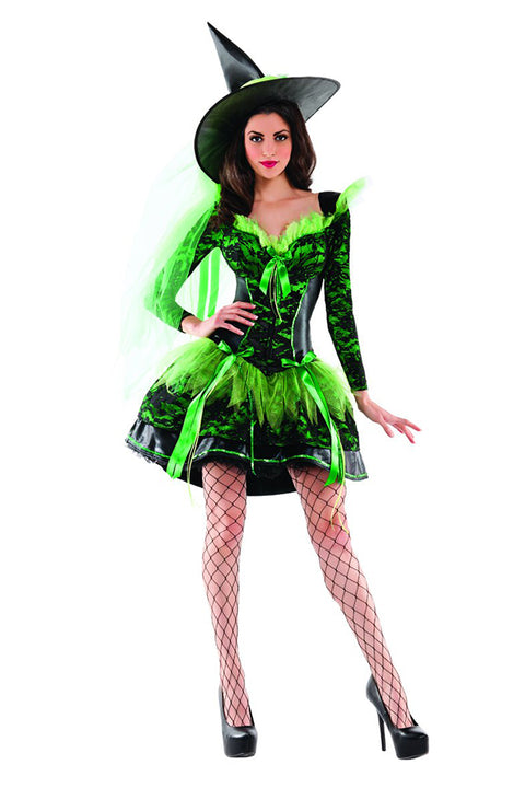 Party King Women's Wicked Emerald Witch Shaper Costume Womens Adult Sized Costumes - Nastassy