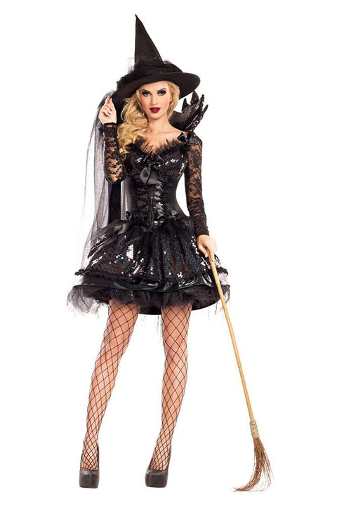 Party King Women's Midnight Black Witch Shaper Costume Womens Adult Sized Costumes - Nastassy