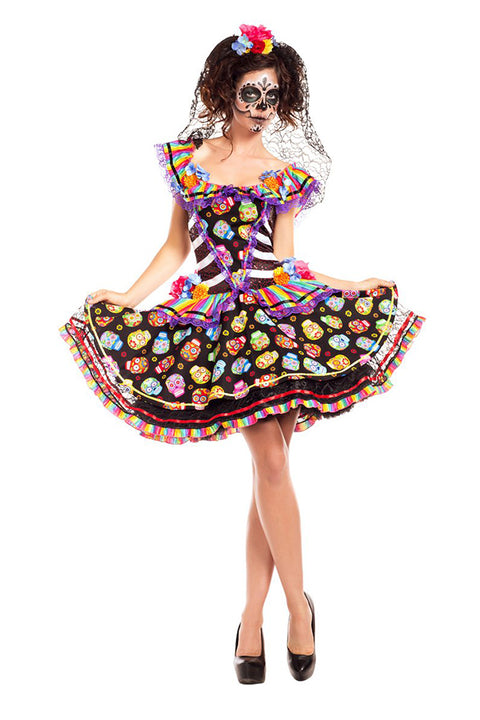 Party King Women's Sugar Skull Senorita Day of the Dead Costume Womens Adult Sized Costumes - Nastassy