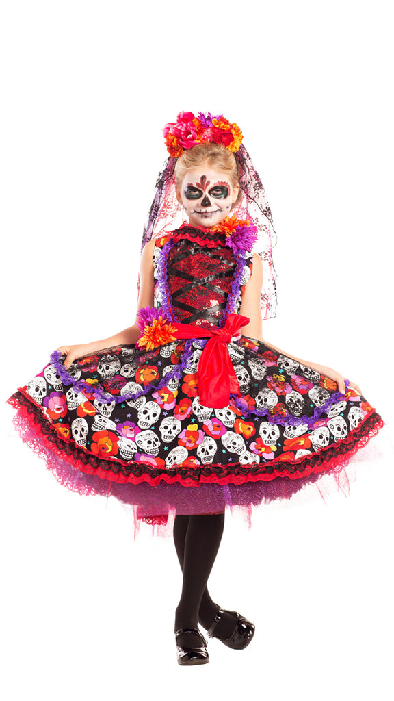 Party King Lady of the Dead Child Costume Girls Childrens Costumes - Nastassy