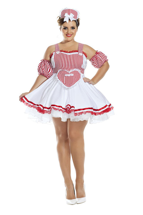 Party King Plus Size Candy Striper Honey Womens Costume Womens Adult Sized Costumes - Nastassy