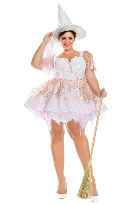 Party King Plus Size White Magic Witch Womens Costume Womens Adult Sized Costumes - Nastassy