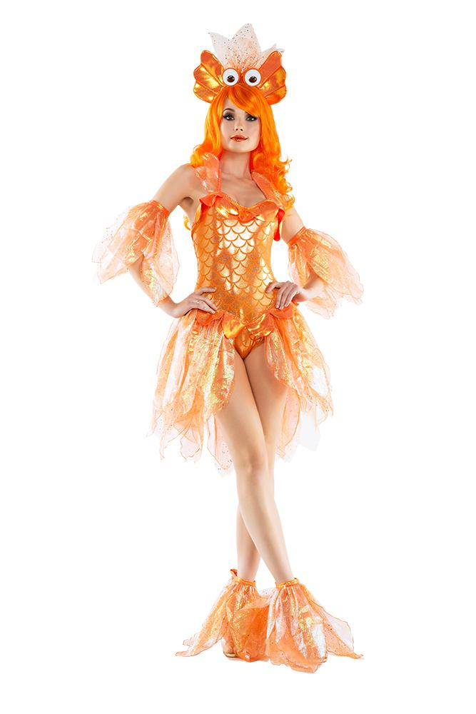 Starline Women's Deluxe Shimmering Goldfish 4 Piece Costume Set Womens Adult Sized Costumes - Nastassy
