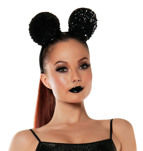 Starline Women's Sequined Mouse Ears Headband Accessory Womens Costume Accessories - Nastassy