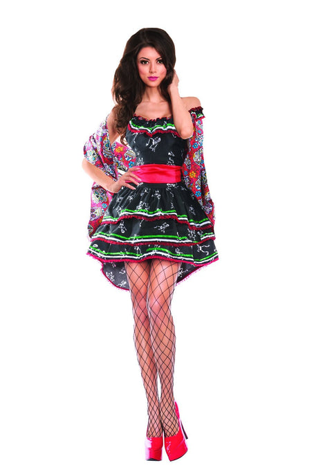 Party King Women's Day of the Dead Muerta Costume Womens Adult Sized Costumes - Nastassy