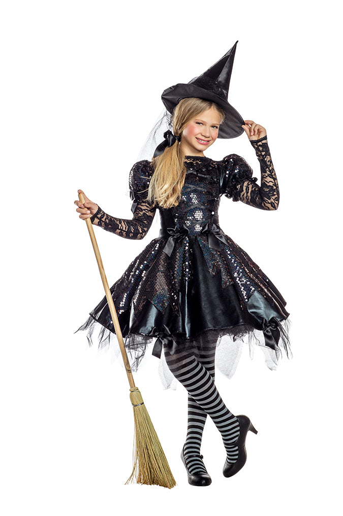 Party King Girls Dark Witch Costume Childrens Costumes - Nastassy