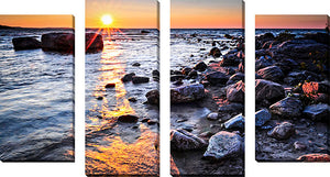 Large Canvas Wall Art Set of 4 by Elena Elisseeva Lake Sunset,Sets of 4,Sea and Shore,purple art,Elena Elisseeva