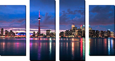 Large Canvas Wall Art Set of 4 by Elena Elisseeva Toronto Skyline 1,Sets of 4,Cityscapes,blue art,Elena Elisseeva
