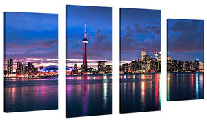 Oversize Canvas Wall Art Set of 4 by Elena Elisseeva Toronto Skyline 1,Sets of 4,Cityscapes,blue art,Elena Elisseeva
