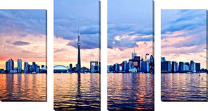Large Canvas Wall Art Set of 4 by Elena Elisseeva Toronto Skyline 2,Sets of 4,Cityscapes,blue art,Elena Elisseeva