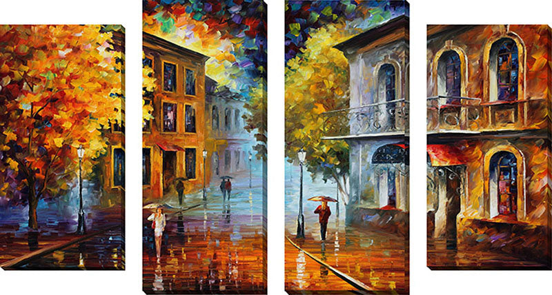 Large Canvas Wall Art Set of 4 by Leonid Afremov Etude In Red,Sets of 4,Cityscapes,multi-color art,Leonid Afremov