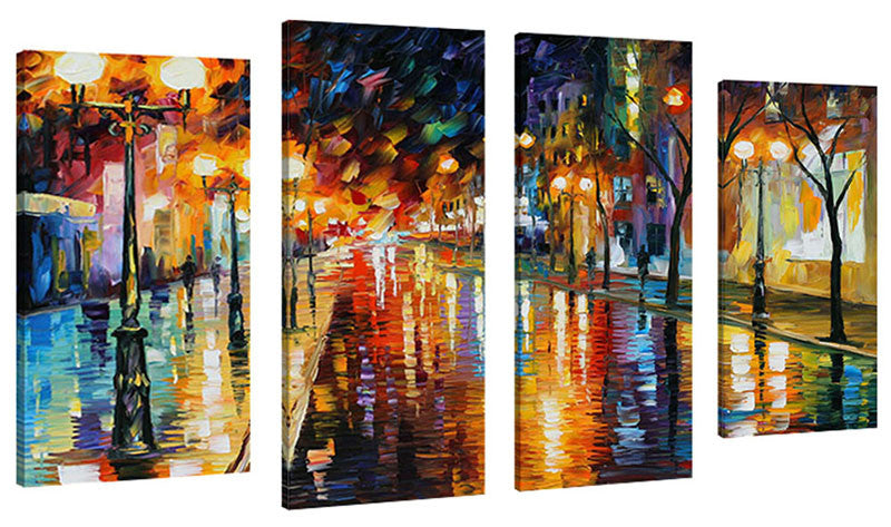 Set of 4 by Leonid Afremov Night Perspective,Sets of 4,Cityscapes,multi-color art,Leonid Afremov