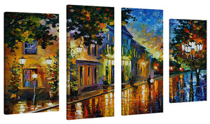 Set of 4 by Leonid Afremov On The Way To Morning,Sets of 4,Landscapes,multi-color art,Leonid Afremov