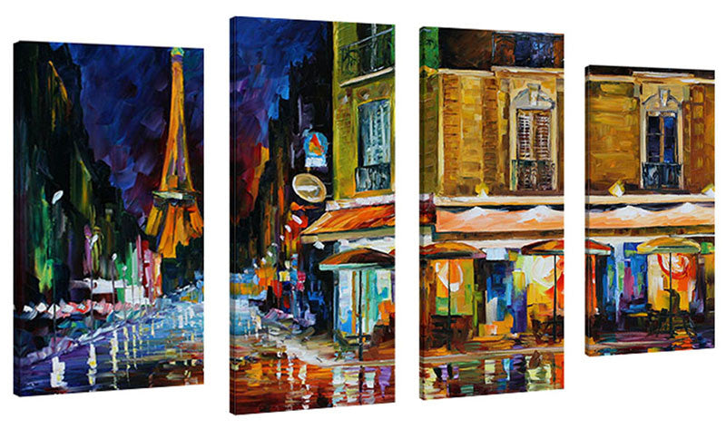 Set of 4 by Leonid Afremov Paris Recruitment Café,Sets of 4,Cityscapes,multi-color art,Leonid Afremov
