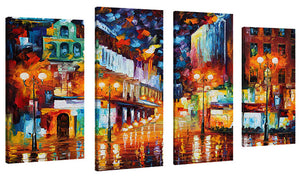 Set of 4 by Leonid Afremov Sparks Of Freedom,Sets of 4,Cityscapes,multi-color art,Leonid Afremov