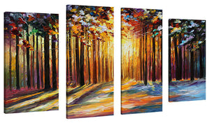 Set of 4 by Leonid Afremov Sun Of January,Sets of 4,Landscapes,multi-color art,Leonid Afremov