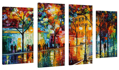 Set of 4 by Leonid Afremov The Tears Of The Fall,Sets of 4,Cityscapes,multi-color art,Leonid Afremov