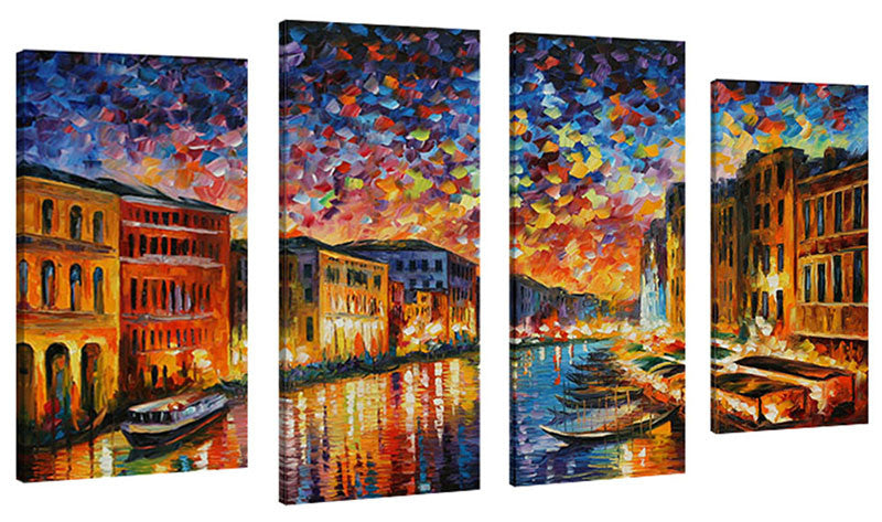 Set of 4 by Leonid Afremov Venice Grand Canal,Sets of 4,Cityscapes,multi-color art,Leonid Afremov
