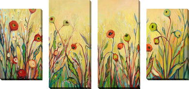 Large Canvas Wall Art Set of 4 by Jennifer Lommers Summer Poppies,Sets of 4,Floral,green art,Jennifer Lommers