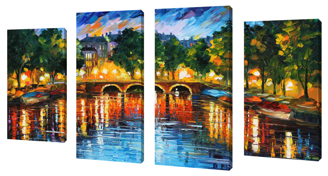 Oversize Canvas Wall Art Set of 4 by Leonid Afremov Amsterdam, The Release Of Happiness,Sets of 4,Cityscapes,multi-color art,Leonid Afremov