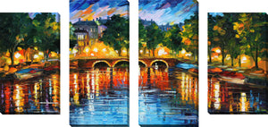 Large Canvas Wall Art Set of 4 by Leonid Afremov Amsterdam, The Release Of Happiness,Sets of 4,Cityscapes,multi-color art,Leonid Afremov