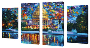 Oversize Canvas Wall Art Set of 4 by Leonid Afremov Capitol At Night Washington,Sets of 4,Cityscapes,multi-color art,Leonid Afremov