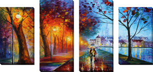 Large Canvas Wall Art Set of 4 by Leonid Afremov City By The Lake,Sets of 4,Landscapes,multi-color art,Leonid Afremov