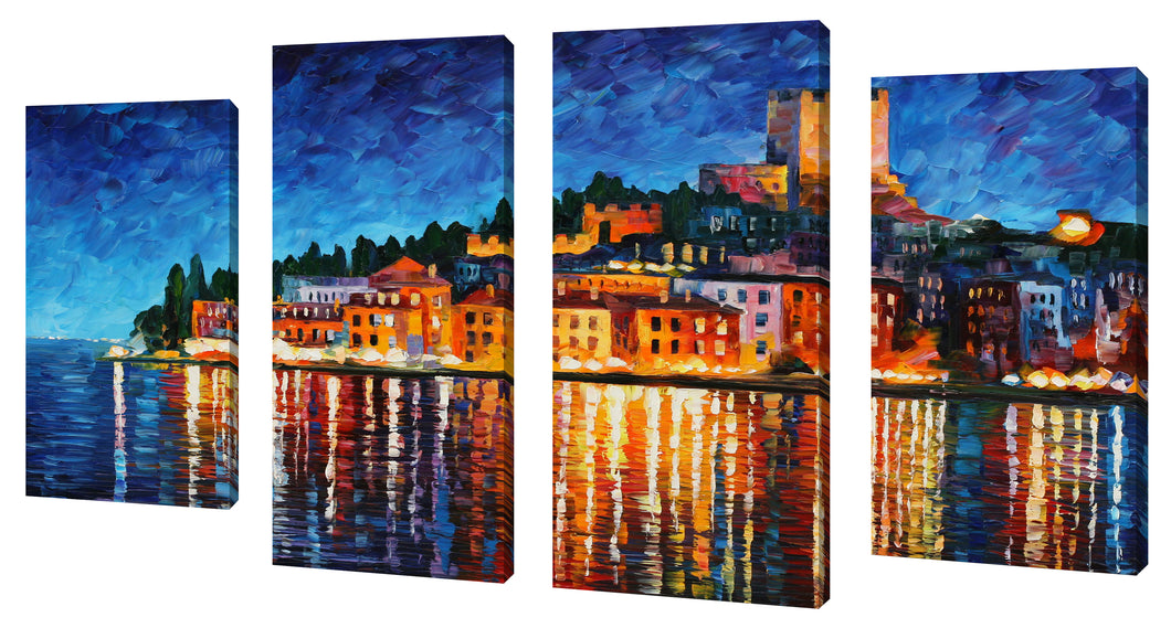 Oversize Canvas Wall Art Set of 4 by Leonid Afremov Italy, Verona,Sets of 4,Cityscapes,multi-color art,Leonid Afremov