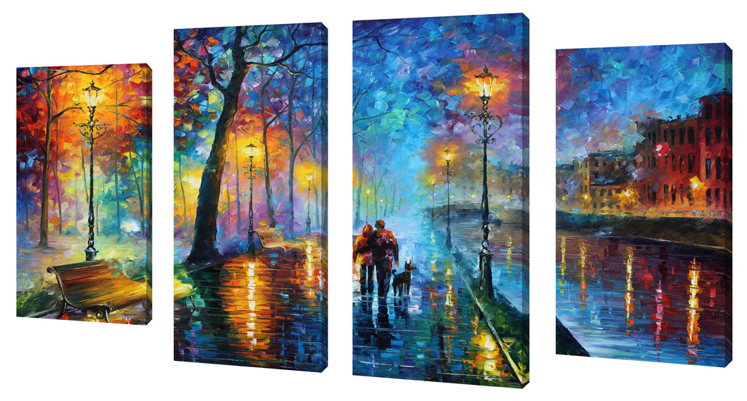 Oversize Canvas Wall Art Set of 4 by Leonid Afremov Melody Of The Night,Sets of 4,Landscapes,multi-color art,Leonid Afremov