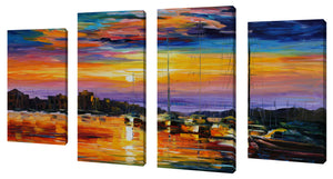 Oversize Canvas Wall Art Set of 4 by Leonid Afremov Sicily, Messina,Sets of 4,Sea and Shore,multi-color art,Leonid Afremov