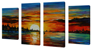 Oversize Canvas Wall Art Set of 4 by Leonid Afremov Sunrise In The Harbor,Sets of 4,Sea and Shore,multi-color art,Leonid Afremov