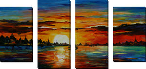 Large Canvas Wall Art Set of 4 by Leonid Afremov Sunrise In The Harbor,Sets of 4,Sea and Shore,multi-color art,Leonid Afremov