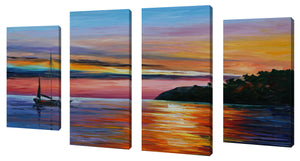 Oversize Canvas Wall Art Set of 4 by Leonid Afremov Way To Home 1,Sets of 4,Sea and Shore,multi-color art,Leonid Afremov