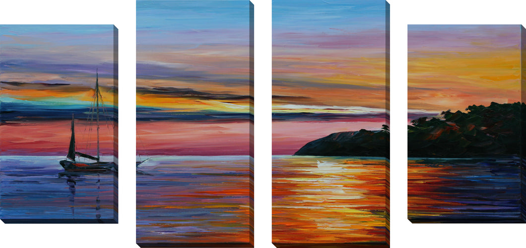 Large Canvas Wall Art Set of 4 by Leonid Afremov Way To Home 1,Sets of 4,Sea and Shore,multi-color art,Leonid Afremov