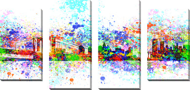 Large Canvas Wall Art Set of 4 by Bekim Mehovic New York Skyline Splats II,Sets of 4,Cityscapes,multi-color art,Bekim Mehovic