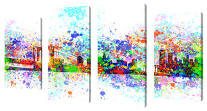 Oversize Canvas Wall Art Set of 4 by Bekim Mehovic New York Skyline Splats II,Sets of 4,Cityscapes,multi-color art,Bekim Mehovic