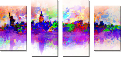 Large Canvas Wall Art Set of 4 by Bekim Mehovic New York Skyline Splats III,Sets of 4,Cityscapes,multi-color art,Bekim Mehovic