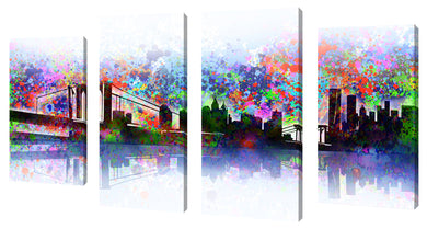 Oversize Canvas Wall Art Set of 4 by Bekim Mehovic New York Skyline Splats,Sets of 4,Cityscapes,multi-color art,Bekim Mehovic