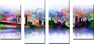 Large Canvas Wall Art Set of 4 by Bekim Mehovic New York Skyline Splats,Sets of 4,Cityscapes,multi-color art,Bekim Mehovic