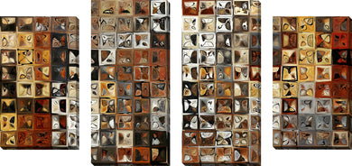 Large Canvas Wall Art Set of 4 by Mark Lawrence Tile Art #1 2013,Sets of 4,Abstract,brown art,Mark Lawrence