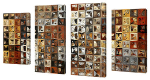 Oversize Canvas Wall Art Set of 4 by Mark Lawrence Tile Art #1 2013,Sets of 4,Abstract,brown art,Mark Lawrence