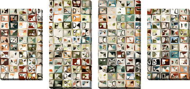 Large Canvas Wall Art Set of 4 by Mark Lawrence Tile Art #3 2013,Sets of 4,Abstract,multi-color art,Mark Lawrence