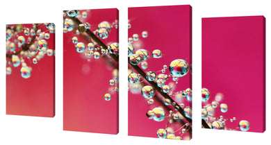 Oversize Canvas Wall Art Set of 4 by Sharon Johnstone Smoking Pink Drops II,Sets of 4,Floral,pink art,Sharon Johnstone
