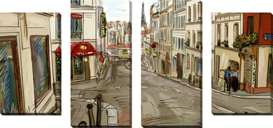 Large Canvas Wall Art Set of 4 by Evening in Paris,Sets of 4,Cityscapes,brown art