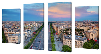 Oversize Canvas Wall Art Set of 4 by Paris Rooftops 2,Sets of 4,Cityscapes,blue art