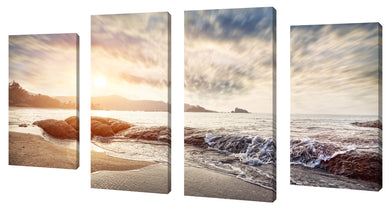 Oversize Canvas Wall Art Set of 4 by Sunlight,Sets of 4,Sea and Shore,gray art