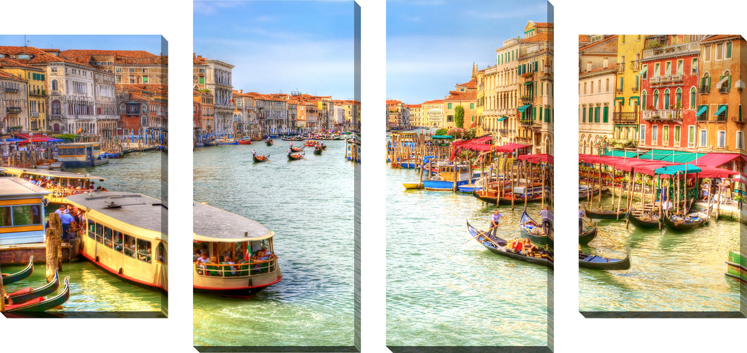 Large Canvas Wall Art Set of 4 by Venice, Italy,Sets of 4,Cityscapes,green art