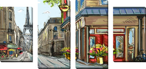 Large Canvas Wall Art Set of 4 by Paris Belongs to Us,Sets of 4,Cityscapes,brown art