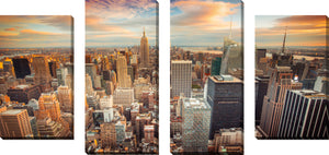 Large Canvas Wall Art Set of 4 by New York City,Sets of 4,Cityscapes,orange art